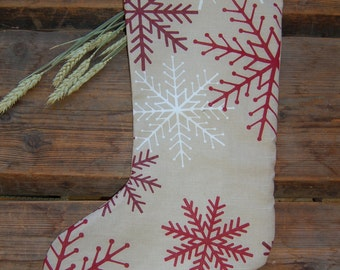 Christmas Stocking from Finnish linen/cotton snow flakes print, BIG stocking