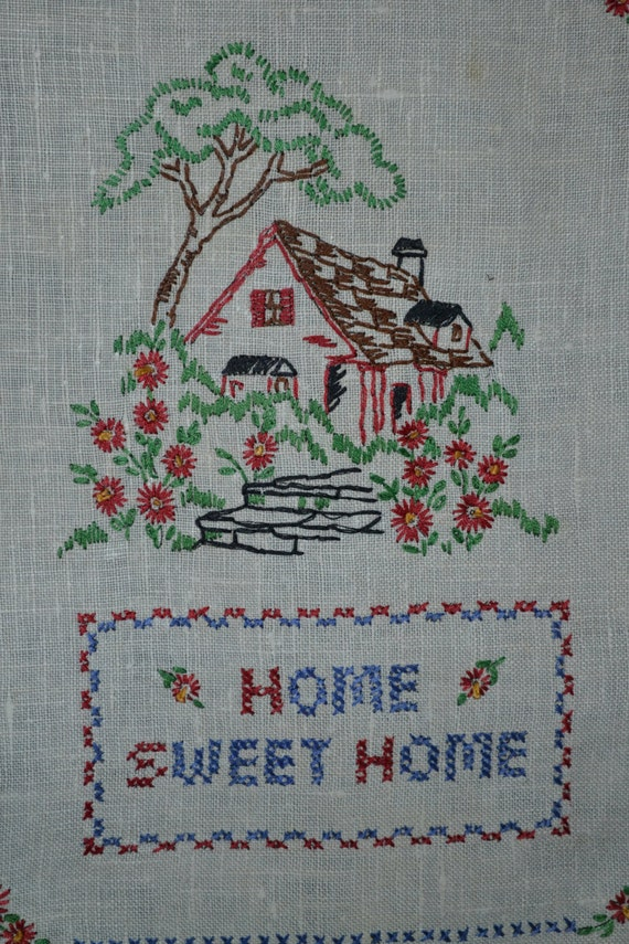 Vintage s sampler embroidery cross stitch home sweet