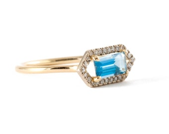 Aquamarine Ring, Diamond Ring, Gold Ring, Blue Stone, Micro Pave' Ring, Tula Jewelry.