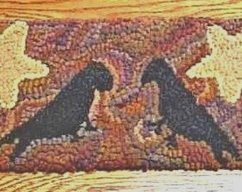 Beginner CROWS IN AUTUMN  Primitive Rug Hooking Kit with cut wool strips on monks cloth by Sharon Perry