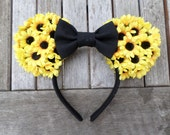 Sunflower Minnie Ears With Bow