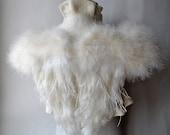 Wings Bolero, Shrug, Wedding SWAN LAKE Bridal Ivory Felt Merino and Silk, Roses Corsage / Brooch, Marabou Sleeves