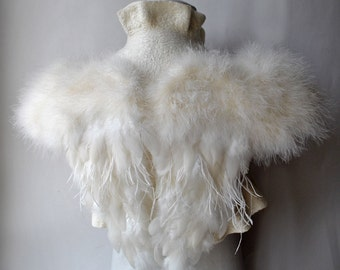 Wedding Bolero, Jacket, Shrug Bridal, SWAN LAKE, Bridal Ivory Felt Felted Merino Silk Roses Corsage / Brooch, Marabou Sleeves, Wings 30% OFF