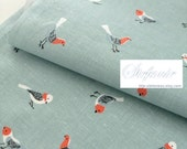 Lovely Watercolor Style Sketched White Red Birds On Blue Or White, Choose Color - Japanese Cotton Fabric (Last Piece,  15.7 x 47 Inches)
