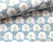 SALE CLEARANCE Zoology Collection, Lovely Cute Green Ear White Baby Elephants On Retro Blue - Cotton Flannel Fabric (1/2 Yard)