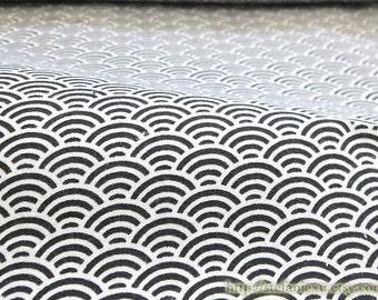 Japanese Cotton Fabric-Little Chic Black Ocean Waves On White (Fat Quarter)