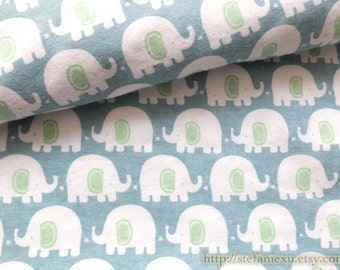 SALE CLEARANCE Zoology Lovely Cute Green Ear White Baby Elephants On Retro Blue-Cotton Flannel Fabric(LAST Piece, 17.7x43.3 Inches)