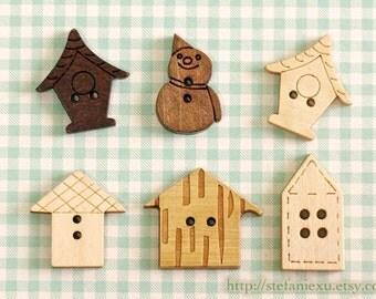 6PCS Wooden Buttons, Natural/Painted Color - Home Sweet Home House Shape Retro Birdcage Snowman Collection Set