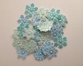 Winter Wonderland  Assorted Blue Glittered Snowflakes