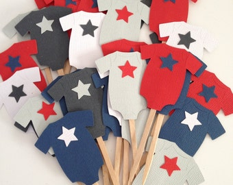 Star Studded Bodysuit Cupcake Toppers  or Food Picks - Navy, Red, Gray and White