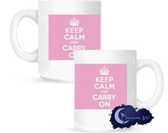 Keep Calm and Carry On, Pink 15 oz Coffee Mug