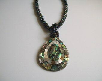 Mop Abalone Shell Pendant with Iridescent Twisted Beads Free Shipping