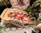 Vintage 70s Amber N Yellow Floral Serving Tray Housewares Home Decor Picture
