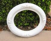 FRAME, Shabby Chic Frame, White Frame, Solid Wood Frame, Oval Frame 12 x 14