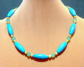 SALE  Turquoise Blue Western Style Necklace / Magnesite Turquoise Gemstone Necklace / Western Necklace