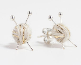 Knitting Needles & Ball of Wool Earrings - White and Gold yarn studs