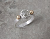 Rose Cut Gray Diamond Sterling and 14k Gold Engagement Ring size 8