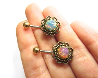 Belly Button Ring, Glass Opal Flower Belly Ring Rose Daisy Belly Button Ring Navel Piercing Bronze Stud Bar Barbell Pink Blue Belly Ring