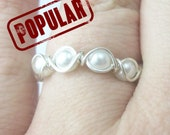Pearl Eternity Band Ring - Stackable Pearl Ring - Eternity Band - Bridal Ring - Pearl Stacking Ring - Stackable Ring - Pearl Ring - Custom