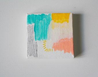 Sunrise - 3x3 Original Acrylic Abstract on Canvas