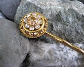 Gold and Amber Swarovski Crystal Deco Hair Pin
