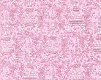 Michael Miller Fabric Eiffel Tower in Rose Pink, Choose your cut