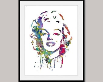 MARYLIN No 1 Print Poster designed for 10 x 8 inch Mixed Media Wall Decor ink Painting Digital
