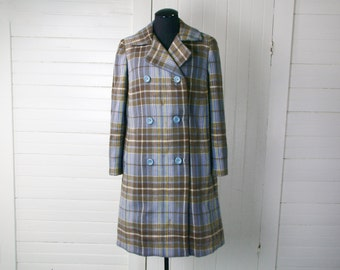 60's Swing Coat in Blue & Taupe Plaid- Double Breasted Wool- Medium- 1960's