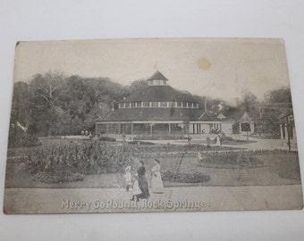 Antique 1910s Postcard, Rock Springs Park Merry Go Round, Chester, WV, Unused