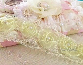 1 yd Ivory Organza Ribbon Trim with Pearls