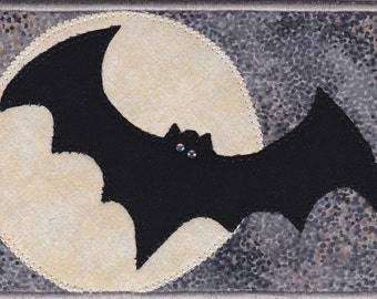 Bat in the Moonlight Quilted Fabric Postcard