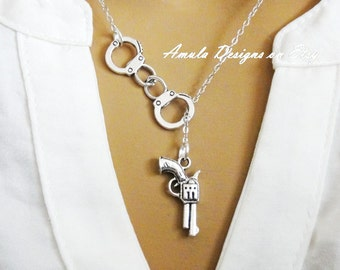 Handcuff and Gun Lariat Necklace