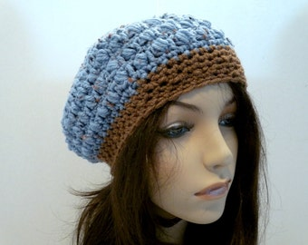 Crochet Slouchy Hat in Blue and Brown for Teens and Women, Beret, Tam