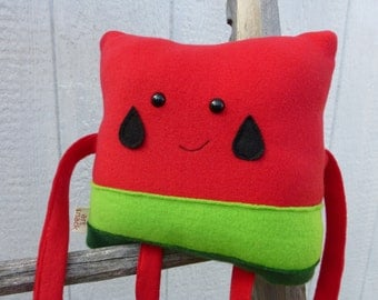 Watermelon Plush, Fruit Square, Watermelon Toy, Stuffed Watermelon, Kawaii