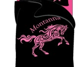 Custom Personalized Horse Theme Bedding -Shown Black and Bright Colors - Available in Twin, Tw XL, Queen or King Duvet Size - Other Colors