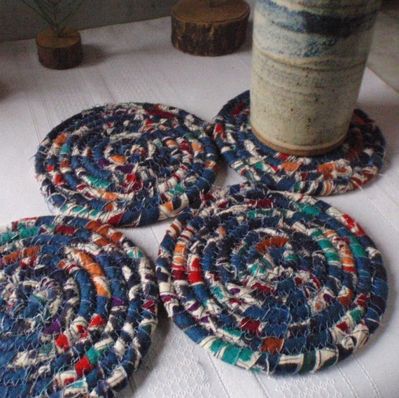 Denim Blue Coiled Fabric Coasters Set of 4 Housewares