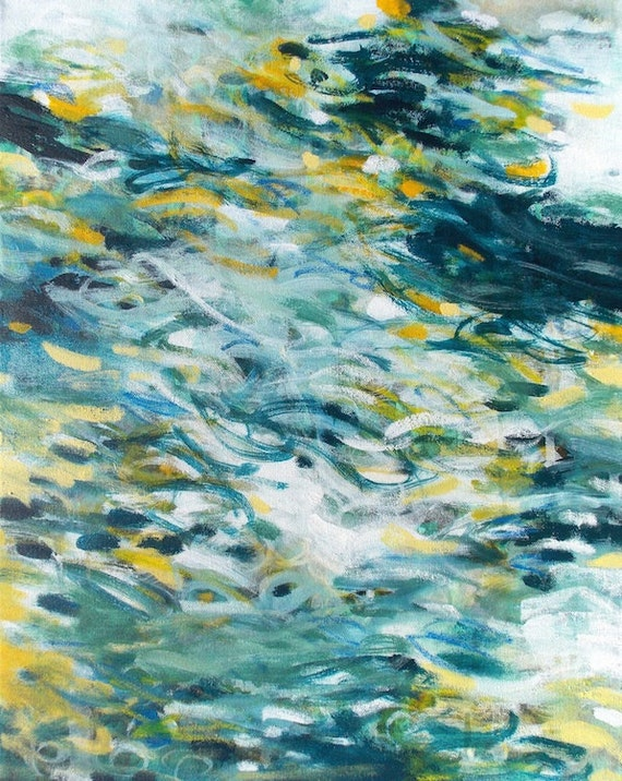 Original Abstract Painting 16x20 Canvas Wall Art navy blue white yellow acrylic - Impermanence by Jessica Torrant 2015