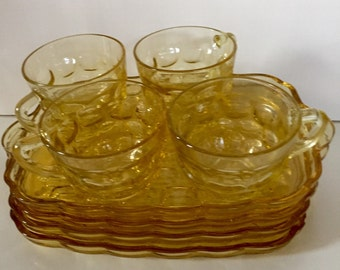Vintage Amber Glass Snack Set