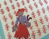Vintage Corn Stalk and Female Scarecrow Handkerchief