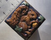Legendary Woodland Squirrel with Golden Acorn Accent Tile with Blue Glaze As Seen in My YouTube Video!