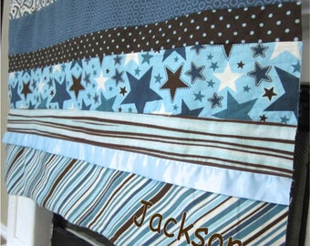 Boy Baby blanket - All Star Scrappy Satin Patch Blanket minky, blue, brown, dot stripe riley blake, paisley, personalized quilt embroidery