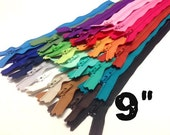 9 Inch assorted YKK zippers, 25 pcs, dress, skirt, pouch zippers, neutrals, blue, green, teal, turquoise, orange, purple, pink, all purpose