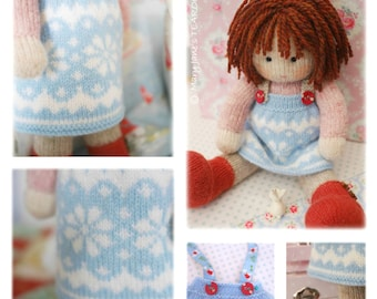 STARRY Doll Pinafore Knitting Pattern/ TEAROOM Knitted Pinafore/ Pdf Doll Clothes Toy Knitting Pattern/ INSTANT Download