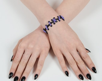 Zombie Bracelet - Frankenstein Gothic - The Original VonErickson Stitch Bracelet-  Lilac 2pc set