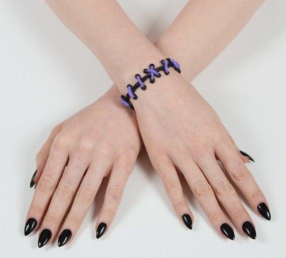 Zombie Bracelet - Frankenstein Gothic - The Original VonErickson Stitch Bracelet-  Lilac 2pc set