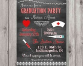 Digital Chalkboard Style Nurse Graduation Party Invitation You Print Printable | Party Pack Available