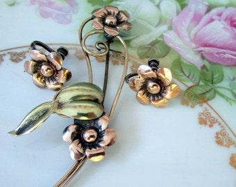 Vintage Flower 12K rose gold filled Sterling Brooch and earrings set