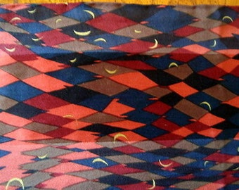 "Vintage Silk  Moons Scarf Midnight Blues & Reds 66"" x 20"""