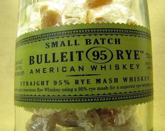 Rye & Ginger Candy Dish, Bulleit Whiskey, Yummy Earth, Fruit, Organic, Vegan, Kosher, Glass, Upcycled, Recycled