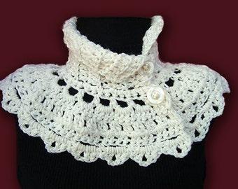 INSTANT DOWNLOAD Crochet Pattern PDF 91 Cream Capelet Neckwarmer, cowl collar scarf